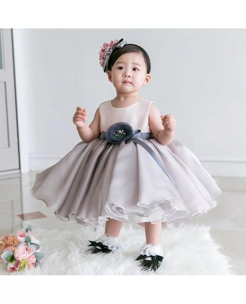 Light Grey Organza Baby Flower Girl Dress Toddler Formal