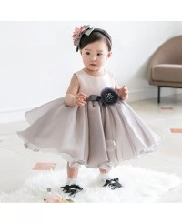 Light Grey Organza Baby Flower Girl Dress Toddler Formal