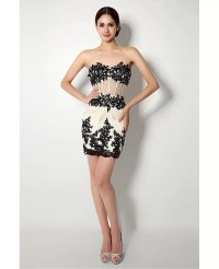 Unique White And Black Lace Mini Prom Dress With Removable ...