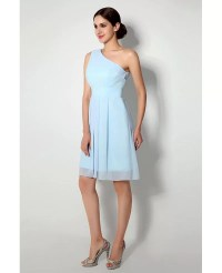 Simple One Shoulder Short Bridesmaid Dress Light Sky Blue ...