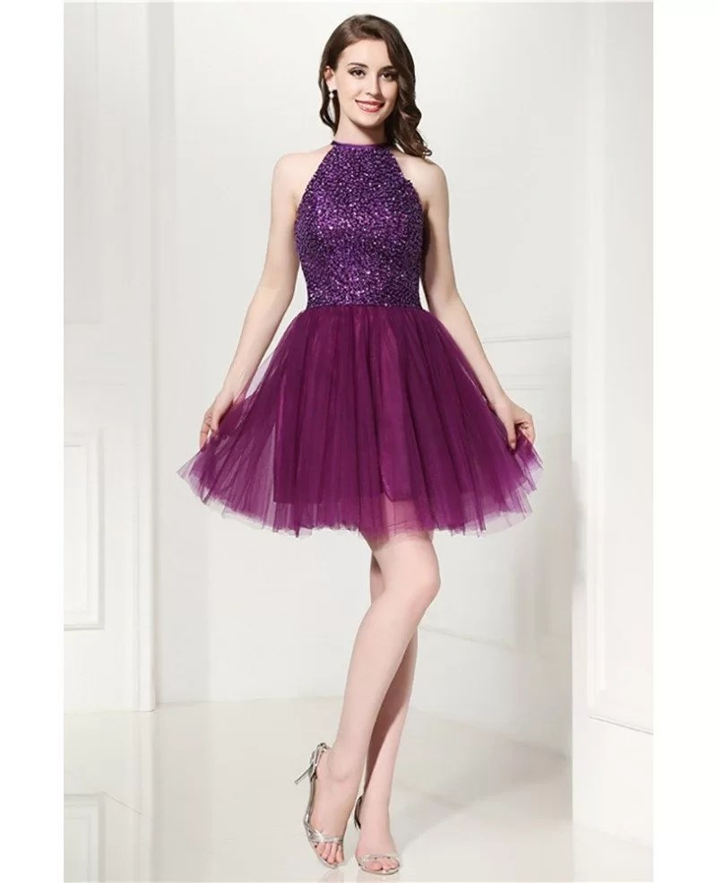 Grey Cocktail Halter Prom Dress With Beading Top For Homecoming H76109  GemGracecom