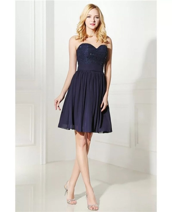 Simple Navy Blue Short Bridesmaid Dress Strapless With Lace #h76131