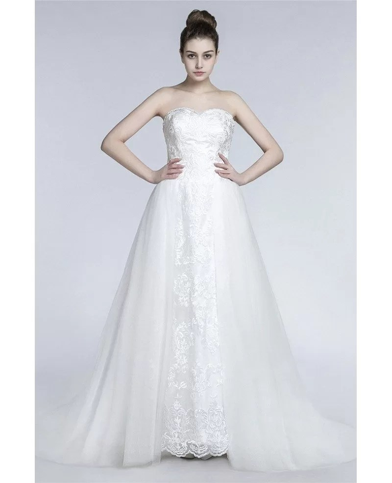Princess Long A Line Wedding Dress Strapless Trained With