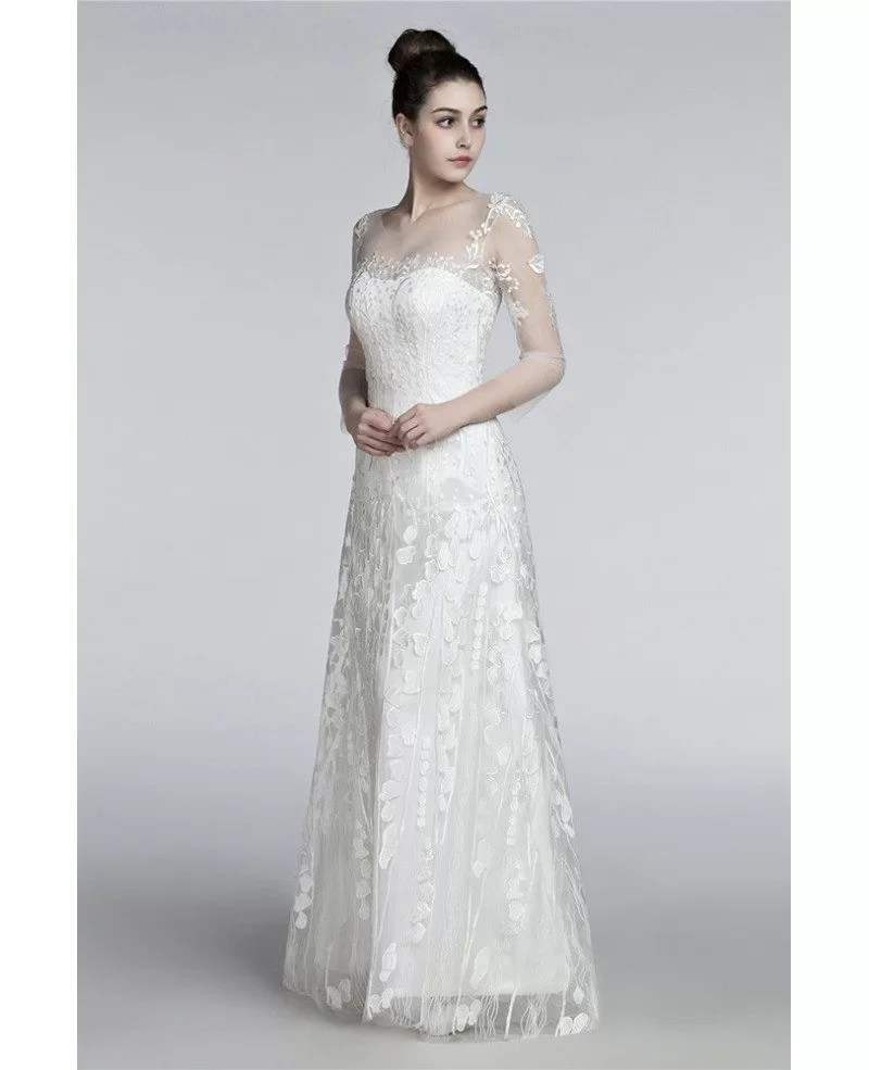Romantic Flowing Lace Beach Wedding Dresses With Sleeves Destination H76008  GemGracecom