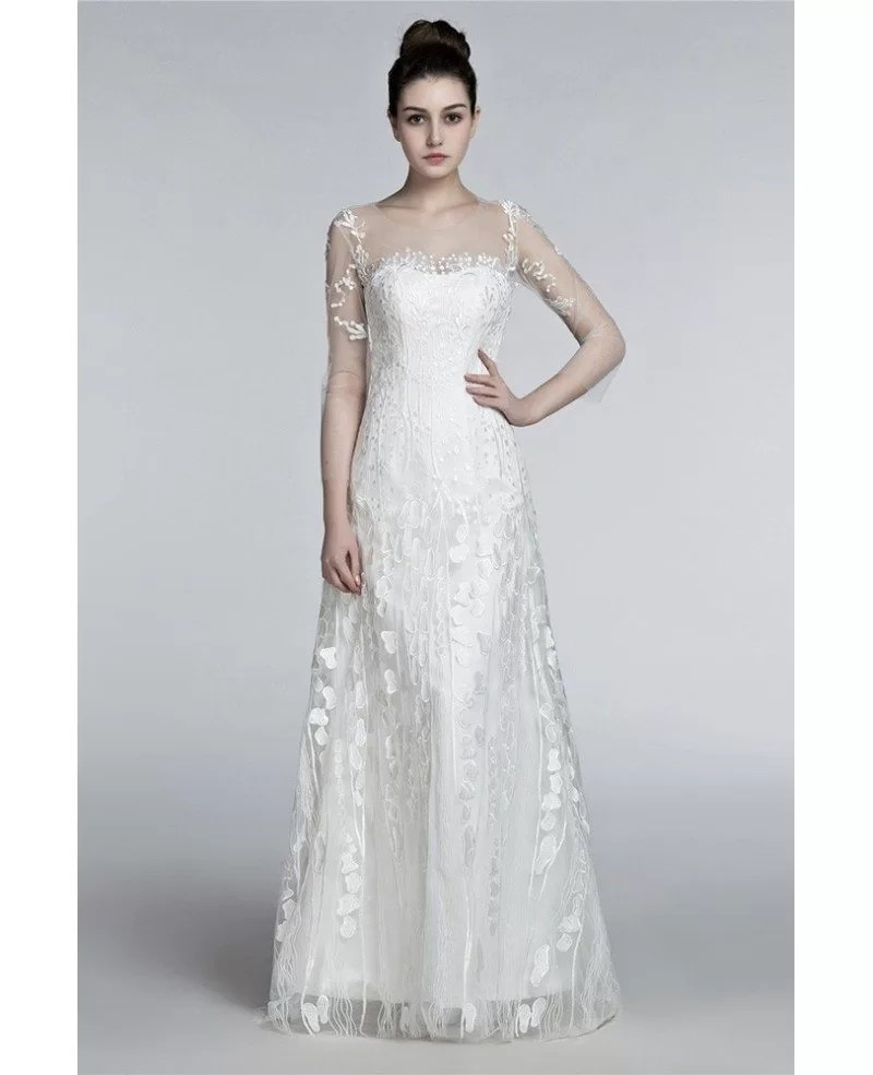 Romantic Flowing Lace Beach Wedding Dresses With Sleeves
