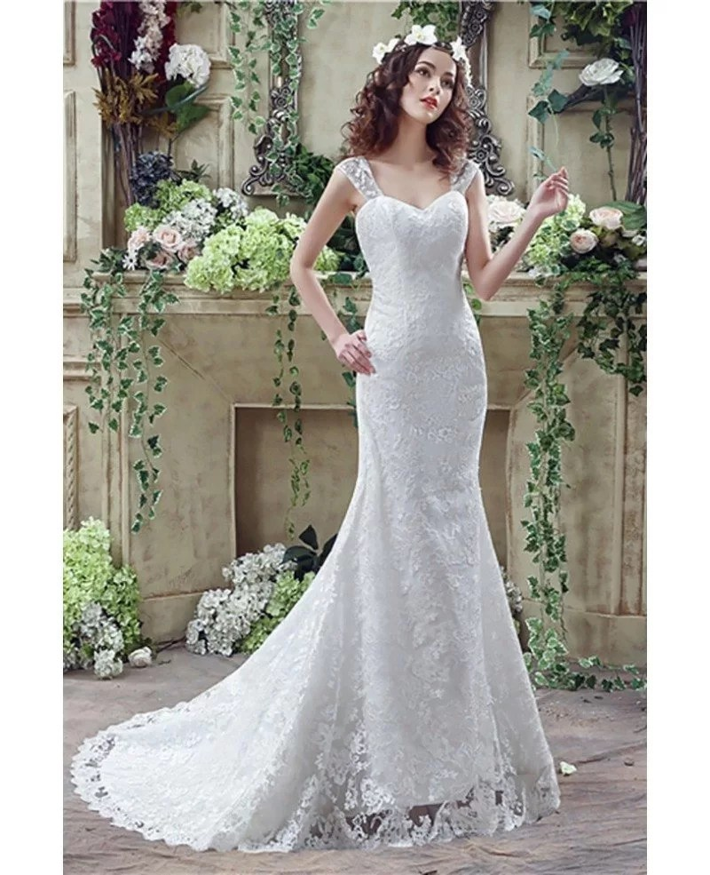 Princess Fitted Trumpet Wedding Dress All Lace With Straps H76019  GemGracecom