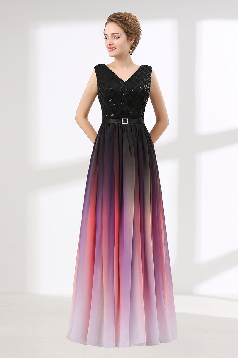 Ombre Flowy Chiffon Prom Dress Long With Shiny Sequin Bodice CH6614  GemGracecom