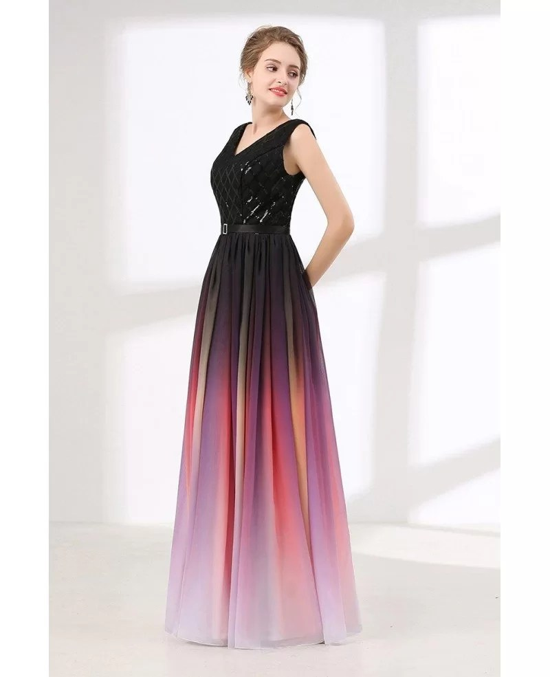 Ombre Flowy Chiffon Prom Dress Long With Shiny Sequin