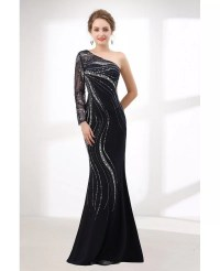 Shiny Sequin Black Fitted Prom Dress Mermaid With One ...