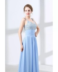Really Cheap Sky Blue Prom Dress With Sequin Bodice Under ...
