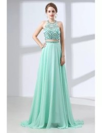 Two Piece Long Teal Prom Dress Sparkly With Crystal Halter ...
