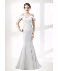 Trumpet Fitted Corset Wedding Dress With Off Shoulder ...