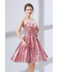 Sparkly Cute Pink Short Homecoming Dress For Senior Girls ...