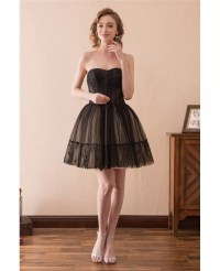 Black Short Tulle Prom Dress Strapless With Lace Trim # ...