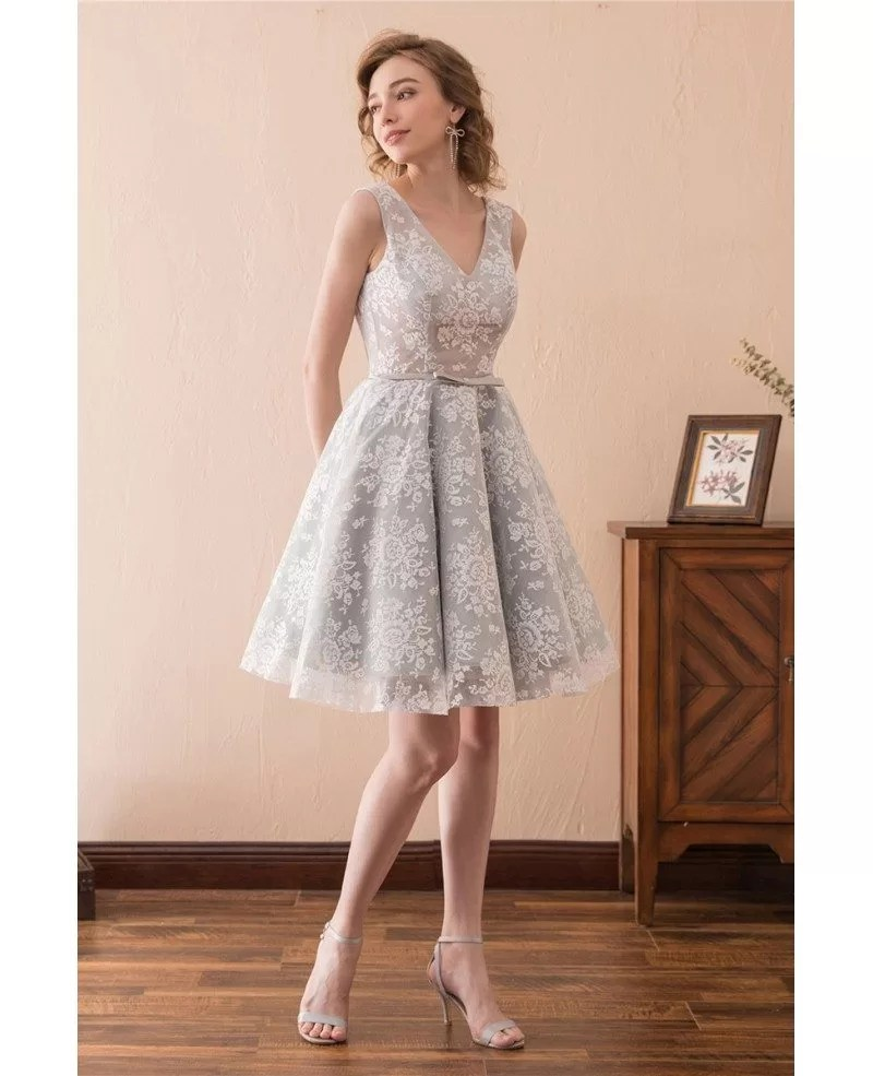 Short A Line All Lace Prom Dress With Double V Neck For