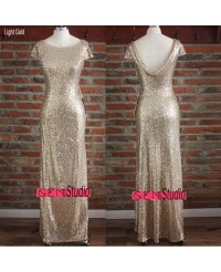 Elegant Long Gold Sequin Bridesmaid Dresses Under 100 For ...