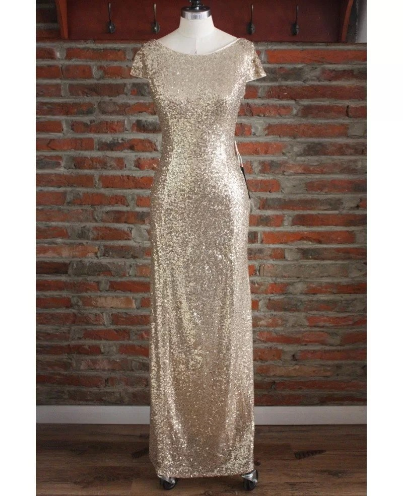 Gorgeous Sheath Long Gold Sequin Formal Bridesmaid Dresses With Sleeves Open Back #S7CK498 - GemGrace.com