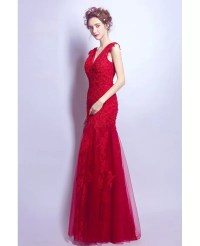 Fit And Flare V-neck Prom Dress Long In Red Lace With ...