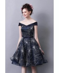 Shining Off The Shoulder Knee Length Homecoming Dress In ...