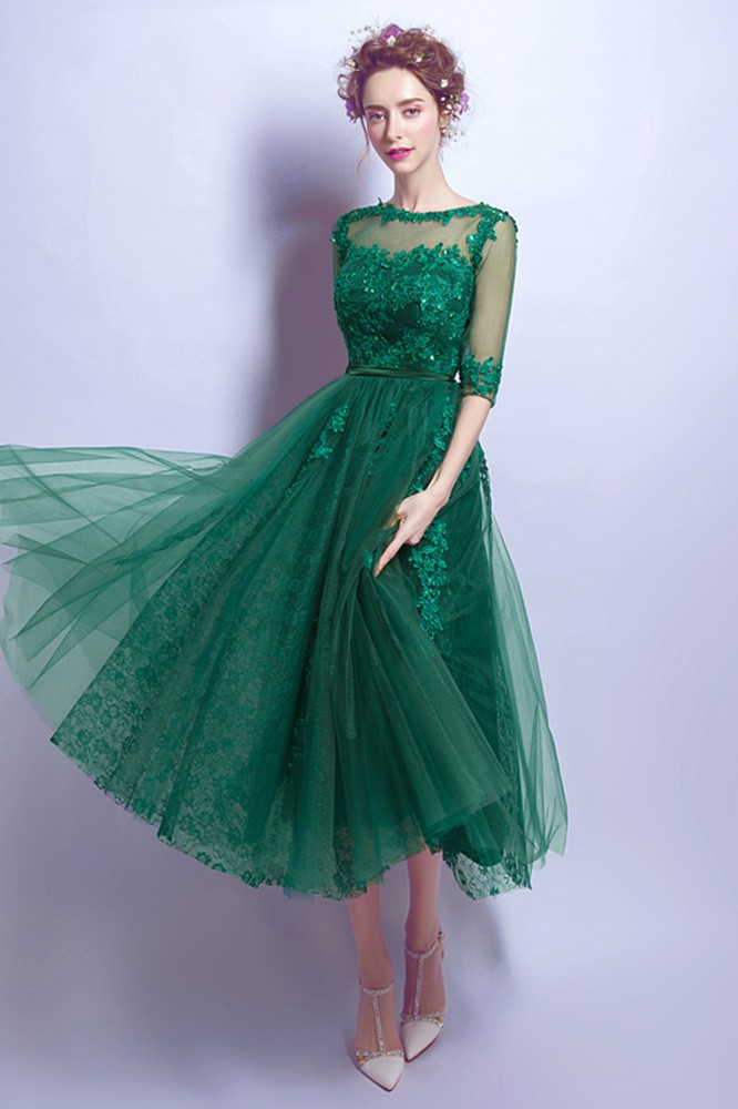 Tea Length Green Lace Prom Dress For Juniors With 12 Sleeves AGP18339  GemGracecom
