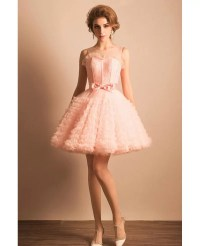 Super Cute Pink Puffy Short Ballgown Prom Dress With Bow #