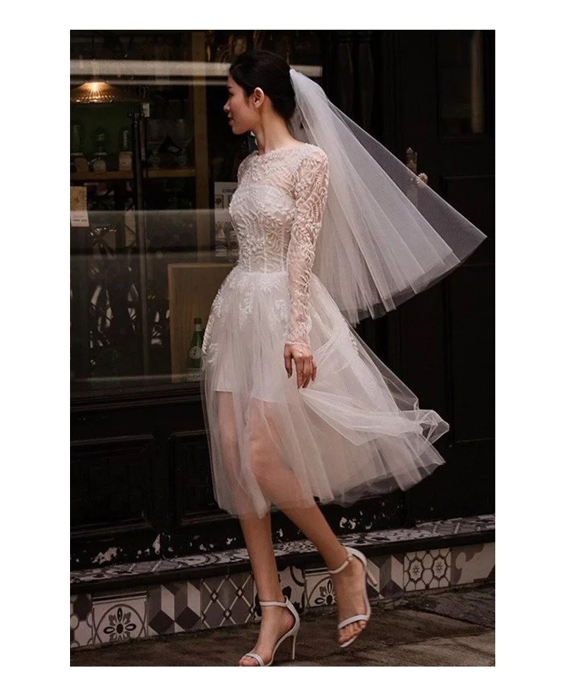 Short Tulle Seethrough Unique Short Wedding Dress with Long Sleeves E8961  GemGracecom
