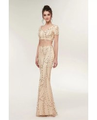 Sexy Two Piece Gold Tight Prom Dress with Sparkle Beading ...