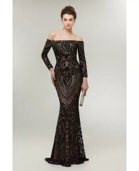 Sexy Black Long Sequin Tight Prom Dress Off The Shoulder ...