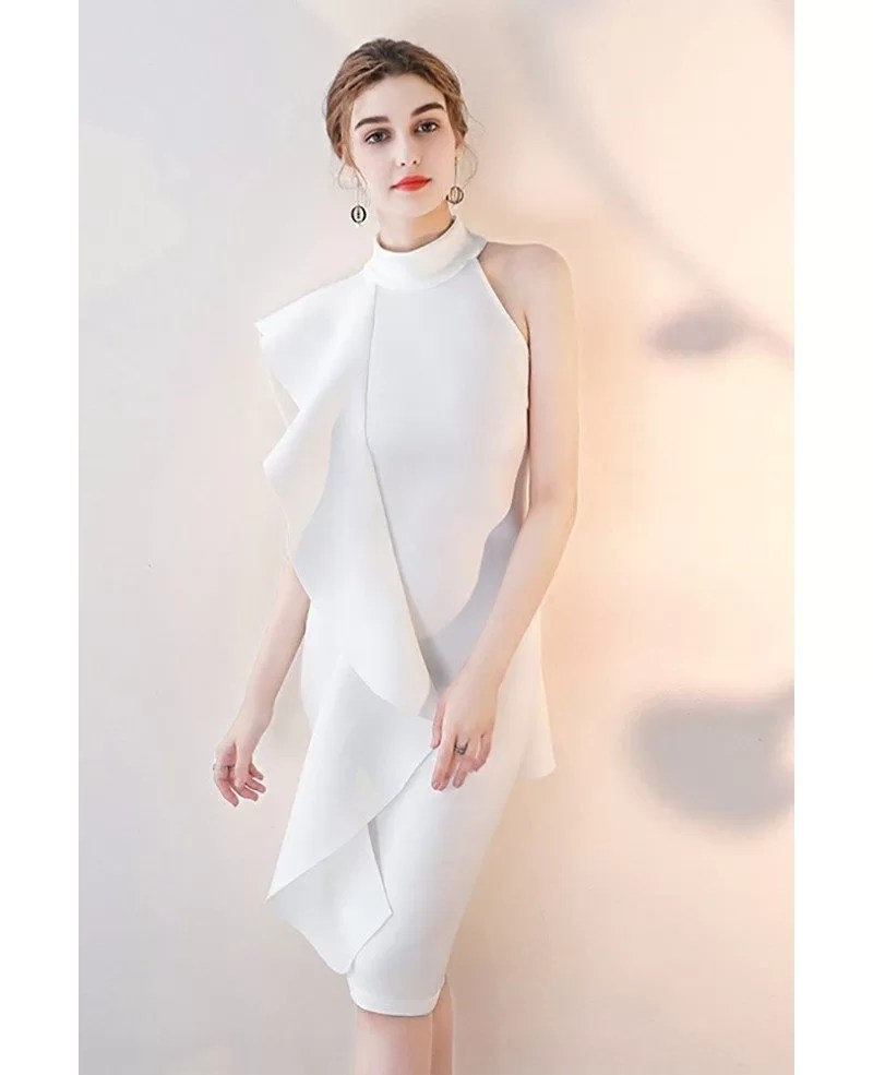 Elegant White Ruffled Sheath Cocktail Dress Short Halter #