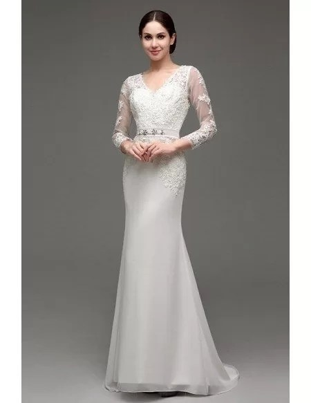 Mermaid V-neck Long-strap Floor-length Wedding Dress