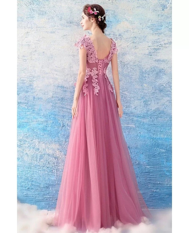 Flowy Pink Tulle Long Prom Dress With Appliques Lace Cap Sleeves Wholesale T69235  GemGracecom