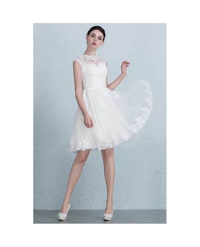 Lace A Line Short Wedding Dresses Reception Tulle Style With Appliques Lace TS007 146