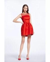 Little Red Satin Mini Wedding Party Dress #DK318 $68 ...
