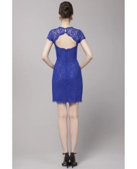 Body Fitted Little Short Dress Blue Lace Short Sleeves # ...