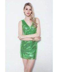 Sexy Sheath V-neck Sequined Mini Wedding Party Dress With ...