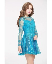 Blue Sequins Mini Short Prom Dress with Long Sleeves # ...