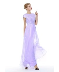 Lilac Chiffon Short Sleeved Homecoming Dress Long #CK397 ...