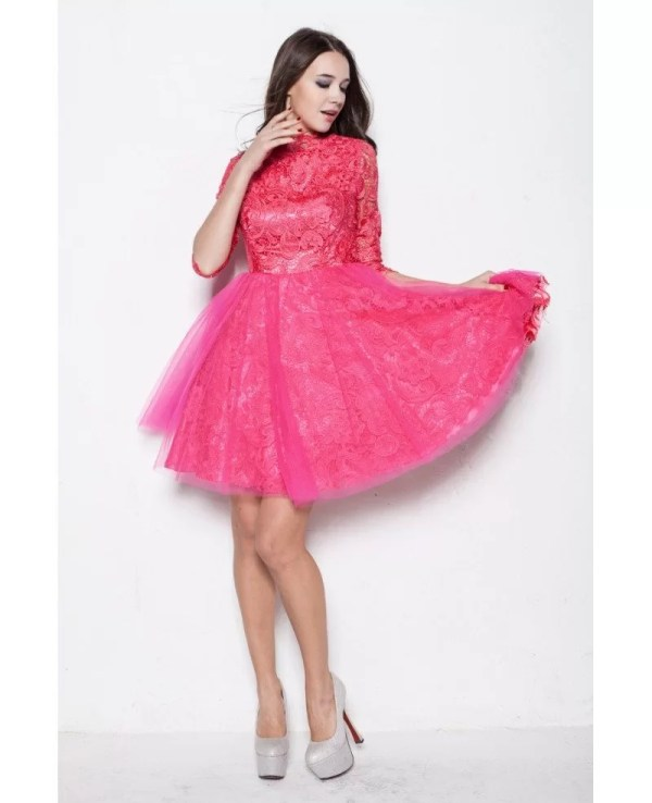 Modest Long Lace Sleeves Tulle Fuschia Homecoming Dresses
