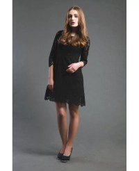 Little Black Lace Short Casual Party Dress With Sleeves # ...