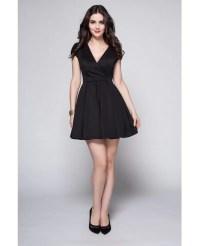 Little Black Vneck Short Sleeved Casual Party Dress #DK245 ...