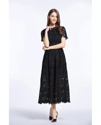 Vintage A-Line Lace Ankle Length Dress With Short Sleeves ...