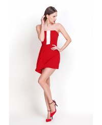 Sexy Sheath Strapless Red Mini Party Dresses -GemGrace