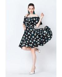 Knee-Length A-line Floral Print Ruffle Dress -GemGrace