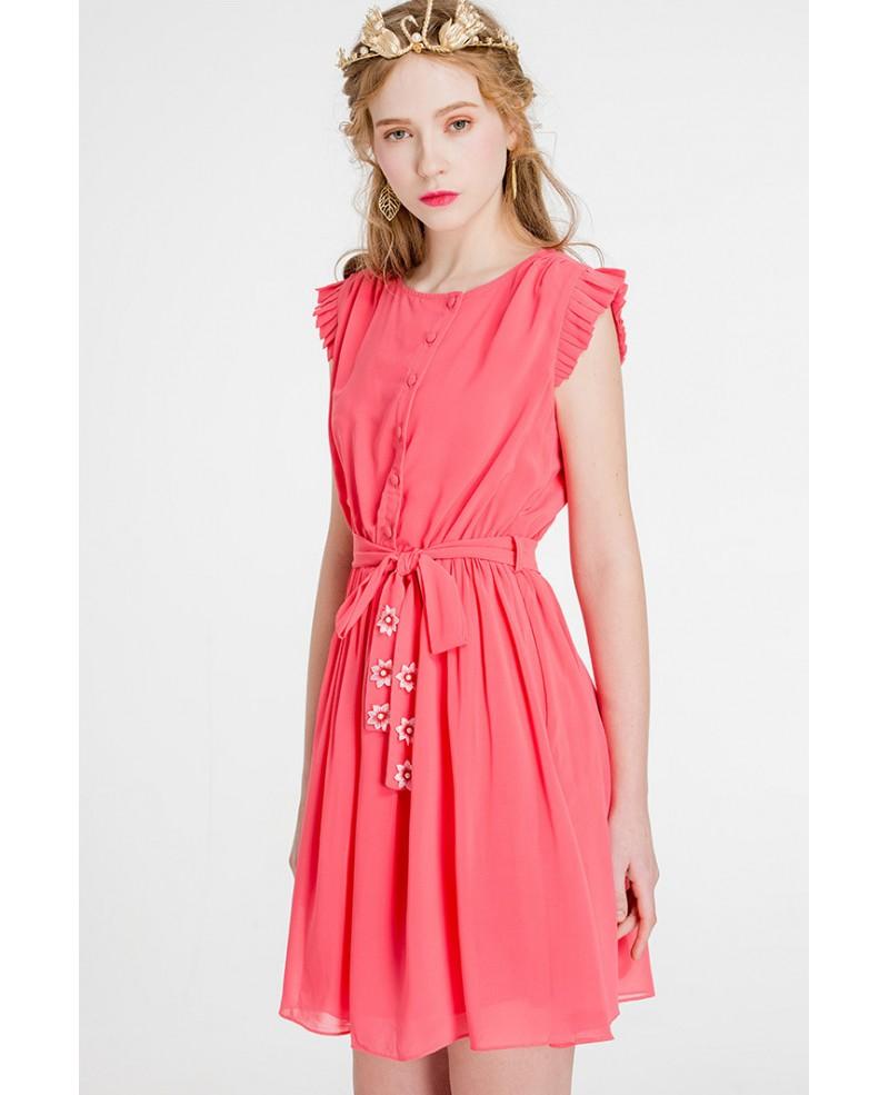 Cap Sleeves Watermelon Chiffon Short Wedding Guest Dress