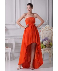 Simple Strapless Beaded Orange Prom Dress Short in Front ...