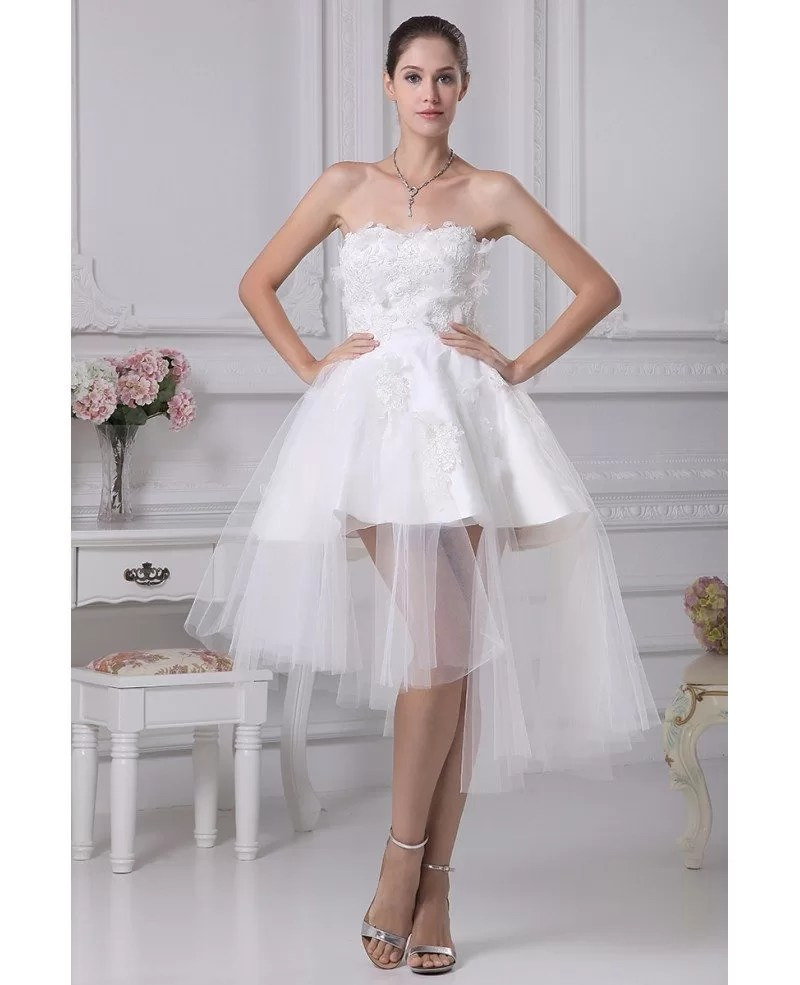 Cheap Short Wedding Dresses Tulle Strapless Beautiful Satin Lace Style OP4258 1599  GemGracecom