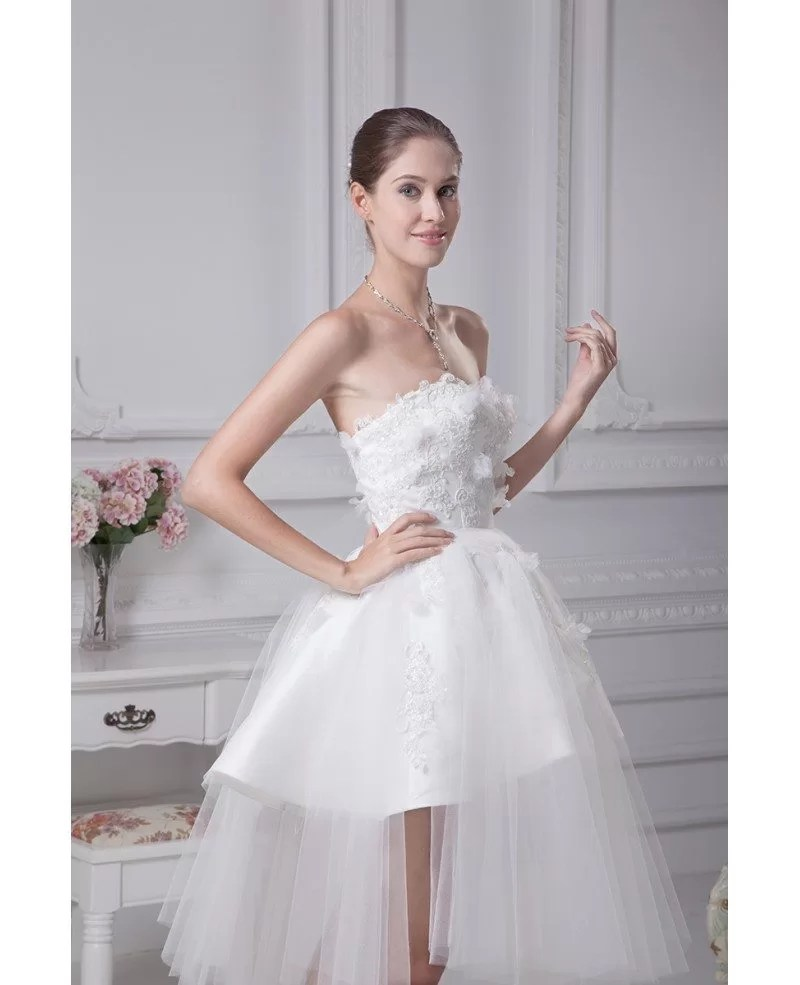 Beautiful Satin Tulle Lace Short Wedding Dress in Strapless GemGrace