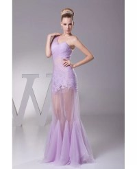 One Shoulder See Through Sexy Tulle Lace Prom Dress in ...