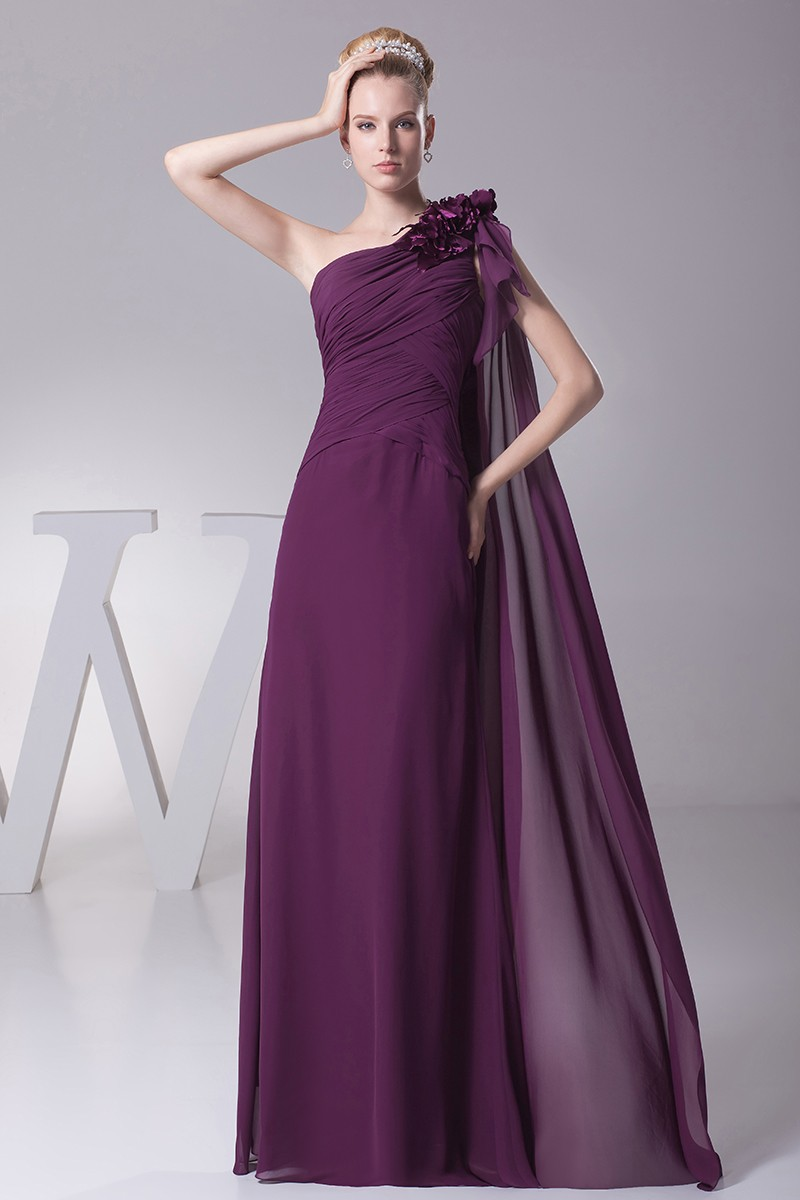 Elegant One Shoulder Folded Chiffon Evening Dress in Grape Color OP4287 139  GemGracecom
