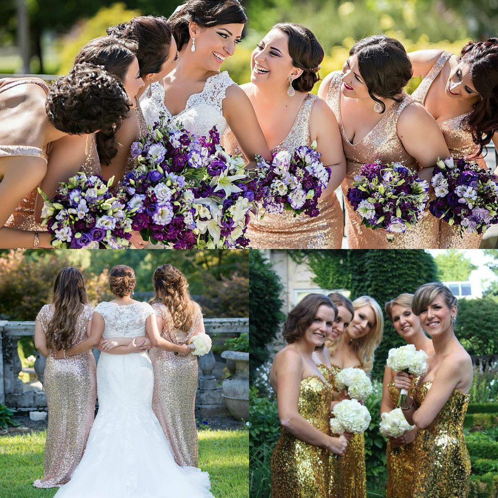 gold color bridesmaid dresses